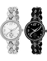 Swadesi Stuff Stylish Black & Silver Color Diamond Studded Dial & Belt Metal Belt Luxury Watch For Woman & Girls