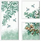 Painting Mantra Bird Floral Theme in White Background Framed Printed Set of 3 Wall Art Print, Painting (1 Unit 22 X 47 cm, 2