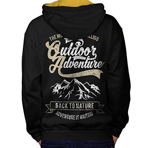 Natur Abenteuer Berg Men M Kontrast Kapuzenpullover Zurück | Wellcoda (Elch Mooses Berg)