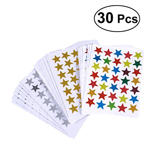 TOYMYTOY 30 Blätter Stern Sticker-Set Kinder selbstklebende Aufkleber Sterne für DIY Scrapbooking Karten Dekoration Geschenk
