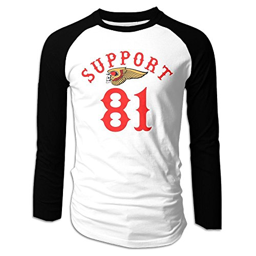 Laugh Dusk Hells Angels Motorcycle Club Support 81 Mens Raglan Baseball Jersey T-shirt Top Crew X-Large