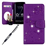JAWSEU Cover Portafoglio Pu con Glitter Brillantini per Galaxy S6 Edge Diamante Glitter Farfalla Fiore in Pelle PU Leather Custodia Flip Wallet Case Specchio Supporto Custodia Cover,Viola