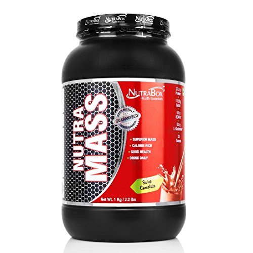 Nutrabox Unisex Nutramass Protein Mass Gainer with Complex Carbs (Added Vitamins and Minerals) Swiss Chocolate Flavour, 1kg /2.20 Lbs /33 Scoops