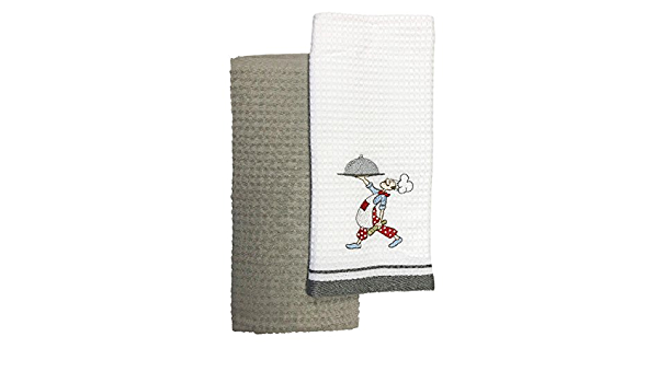 Bellissimo Chef Embroidered Waffle 100 Cotton Woven Kitchen Tea Towels White Silver 2 Pack Amazon Co Uk Kitchen Home