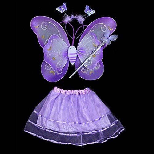 4 Stück Schmetterlings-Flügel-Stab-Stirnband-Kleid-Mädchen-Fee Prinzessin Kostüm Schule Showbühne Fotografie Prop (violett)