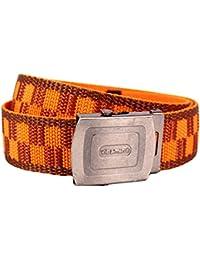 Chequer Pattern Belt Orange and Burgundy. Cool Stylish Clothing