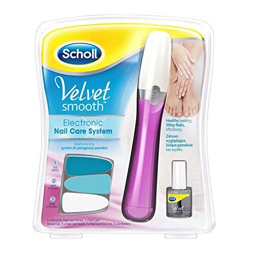 Scholl Velvet Smooth Nail Care System SCHOLL3027780 Nagelpflegesystem mit 3 verschiedenen Aufsätzen + Nagelpflegeöl Pink- Rosa