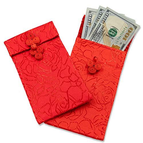 Chinese Red Seide Umschlag-Lunar New Year Hongbao rot geld Taschen für Geburtstag, Hochzeit, Geschenk geben 3 Stück rot
