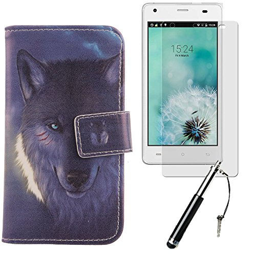 "Lankashi 3in1 Set Giraffe Design PU Cuir Coque Case Pour Cubot Echo 5"" Housse Etui Cover Flip Verre Trempé Vitre de Protection écran Rétractable Mini Tactiles Capacitif Stylus Touch Pen Stylet Stylo Wolf"