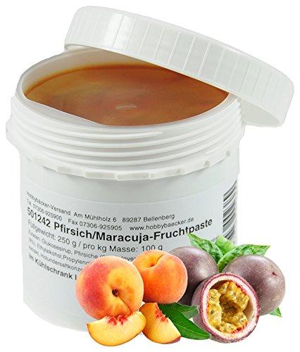 Hobbybäcker Pfirsich-Maracuja-Fruchtpaste ► Zum Verfeinern von Eis, Pralinen, Desserts & Tortencremes, Aromapaste, 250g - Pfirsich-extrakt