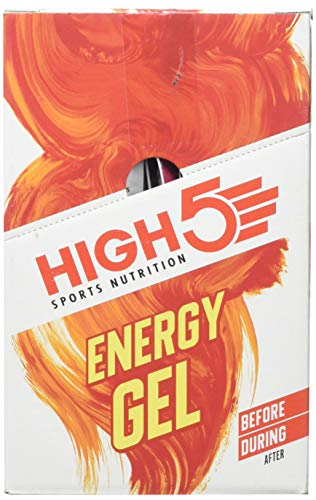 High 5 Energy Gel Plus (Paquete de 20) - Citrus Blast Running Nutrition Plata, Amarillo, Talla Única