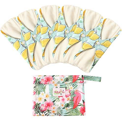 6 Stück Slipeinlagen Waschbar aus Bambusfaser, Waschbare Stoffbinden, Wiederverwendbare Binden, mit 1 Tragbare Mini Tasche Wiederverwendbare (Klein- 20cm/8.2 inch, Zitrone)