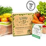 ECONDO - Wiederverwendbare Obst- und Gemüsebeutel aus Bio Baumwolle ♻️ NACHHALTIG ♻️ farbiger Bund ♻️ STABIL & LEICHT - 4er Set Einkaufsnetz - nachhaltige Einkaufsbeutel - plus Geschenk