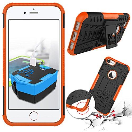 iPhone 7étui portefeuille en cuir pour livre, newstars léger à rabat strass Bling Diamant Strass PU Case Design Coque Protège la peau étui en cuir pour Téléphone Portable iPhone 77g + 1protection  orange