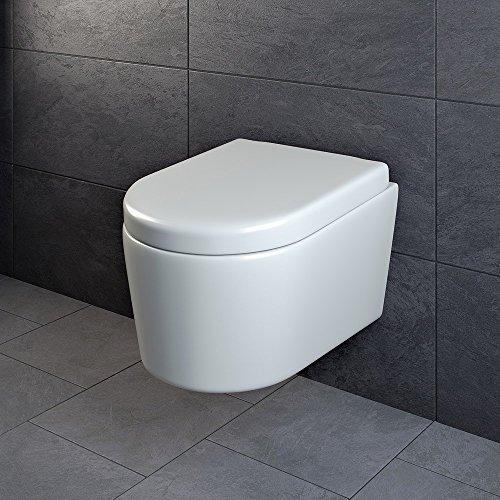 Design Wand Hänge WC ohne Spülrand Spülrandlos Toilette Sitz Softclose hängend 6 - 3