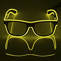 Sotoboo Standard Funny Luminous LED Glasses Neon EL Wire Fashion Neon Cold Light Sunglasses for Dancing Party Bar Meeting Raves Costume Atmosphere Activing DJ Bright Props