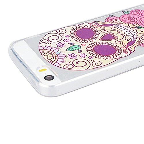 Custodia per iPhone 5/5S/SE , GrandEver TPU Flessibile Ultra Sottile Gel Silicone Anti Scivolo Anti-urto Protettiva Bumper Cover Case - Tacchi Alti Cranio