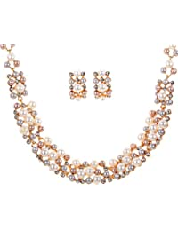 Yazilind Rose Gold Cream Faux Pearl Crystal Collar Chunky Bib Earrings Necklace Jewelry Set