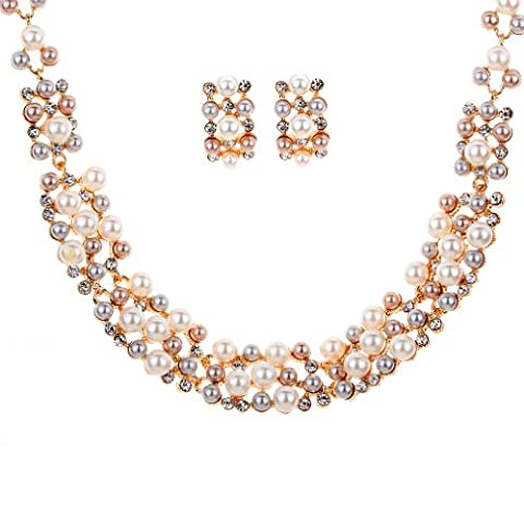 HongHu Cluster Setting Faux Pearl Crystal Bib Strand Necklace Earrings Set for Women