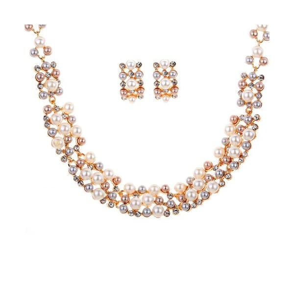 462fb9e28f Yazilind Rose Gold Cream Faux Pearl Crystal Collar Chunky Bib Earrings  Necklace ...