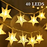 Catena Luminosa, DIKI 5M 40 LED Catene Luminose a Stelle Luci a Stringa LED a Forma di Stella Fiaba a Batteria per le Vacanze Albero di Natale Decorazioni per la Casa Luci a Ctella a Cinque Punte