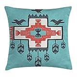 Dutars Funda de cojín holandés Nativo Americano, diseño Tribal Azteca con Dibujo a Mano de Dreamcthcher con Iconos de los pájaros, decoración Cuadrada, 45,7 x 45,7 cm