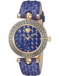 Versace Women's Vanitas Micro Swiss Quartz Stainless Steel and Leather Watch (Model: VQM090016)