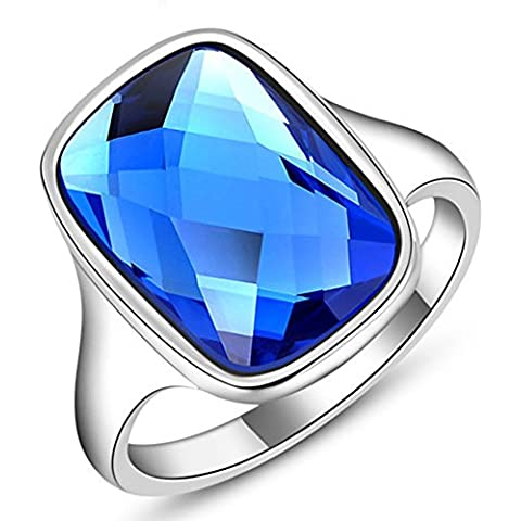 SaySure - Platinum Blue Stone Rings For Women Vintage Jewelry (SIZE : 6)