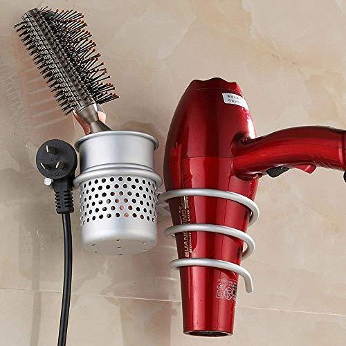 Joyoldelf porta asciugacapelli da parete alluminio con viti di fissaggio porta phon per asciugacapelli a molla