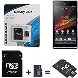 K-S-Trade pour Sony Xperia SP 16 GB Carte Micro SD SDHC + Adaptateur de Carte SD 2en1 Carte mémoire Flash 16Go 16GB Classe 10 C10 U1 V10 HC Carte mémoire Haute Vitesse SDHC pour Sony Xperia SP