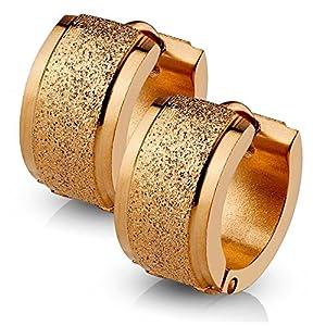 Bungsa Creolen sandgestrahlt 4mm – 4 FARBEN – Edelstahl 1 Paar (Ohrringe Ohrschmuck Ohrklemmen Studs Damen Frauen Herren Mode Earrings)
