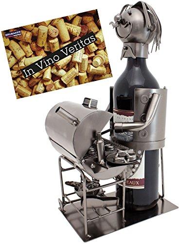Brubaker Flaschenhalter Barbecue Metall Skulptur mit Geschenkkarte
