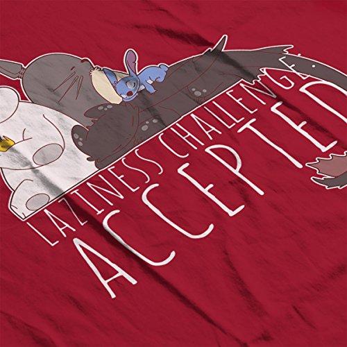 Pokemon Big Hero Stitch Totoro Toothless Sleep Challenge Women's Sweatshirt Cherry Red