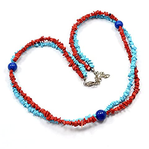 Silvestoo India Lapis Lazuli, Coral & Turquoise Chips Necklace PG-110536