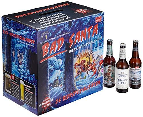 Kalea Bier-Adventskalender 2019, Edition Bad Santa, 24 Deutsche Bier-Spezialitäten und 1 exklusivem Verkostungsglas, 24 x 0,33 l Flaschen