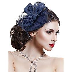 Velo Sombrero Vintage Flor de Malla de Plumas Fascinator Tocado Novia Adornos para el Cabello con Clip y Diadema