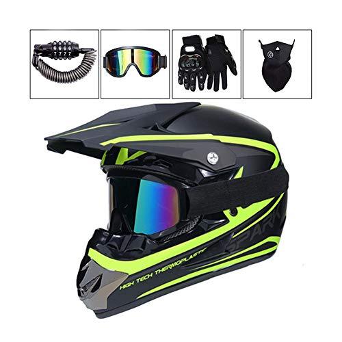 LEENY Motocross-Helm Herren Motorrad Off-Road-Helm Set mit Brille/Maske/Handschuhe/Sicherheitsschloss, Cross-Helm Motorrad-Fahren DH Enduro ATV BMX Quad Motorräder-Helm für Männer Damens,M - Fox Racing Mädchen Handschuh