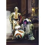 Papel pintado fotográfico para la pared, diseño de tres droides en Star Wars de Disney