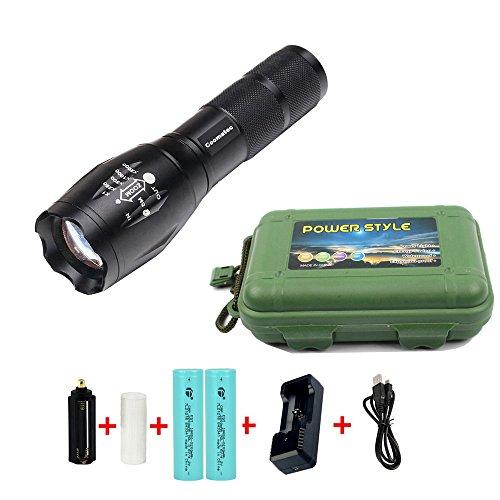 Zoombar-Superhelle-Taktische-LED-Taschenlampe-SetInklusive-2-18650-Li-ion-Akku-und-USB-Ladegert-Coomatec-SD-100-Outdoor-Wasserdicht-LED-Camping-Handlampe-Mit-einstellbarem-Fokussierbar-900-lumen