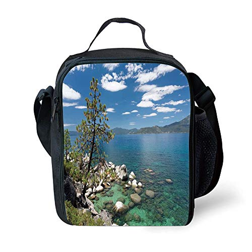 ZKHTO School Supplies Nature,Lake Tahoe by The Lake with A Tree and Rocks Cloudy Bright Sky Landscape,Light Blue Olive Green for Girls or Boys Washable