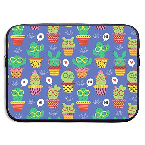 Cheerful Cactus in Glasses Cute Laptop Bags for Men and Women Dustproof Laptop Sleeve Fits 13/15 Inch Laptop, Computer, Tablet,15 inch