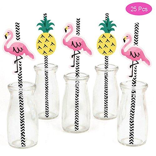 Mattelsen Papierstrohhalme, Trinkhalme für Babys Flamingos & Ananas 25 Stück Hawaii Deco Tropical Sommer Strand Luau Pool Geburtstag Hochzeit Cocktail Partido Tischdekoration