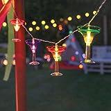 batteriebetriebene Lichterkette im Cocktail-Glas-Design, mit 10 mehrfarbigen Cocktailgläsern mit jeweils einer LED in angenehmen warmweiß, 1,8m Beleuchtungslänge, von Festive Lights