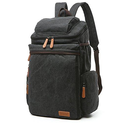 Gendi Gute Qualität Leinentasche Schulter Laptop-Tasche Schultertasche Freizeit Tourismus Multifunktions-Paket (dunkelblau ) Schwarz