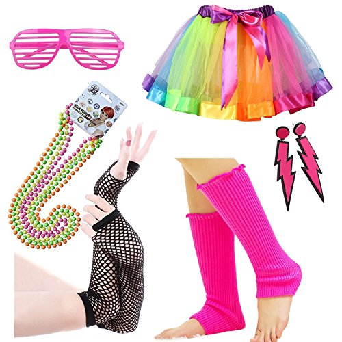 iLoveCos 80er Party Kleid Zubehör Regenbogen Kunststoff Neon Erwachsener Tutu,Beinwärmer,Fischnetz schwarze Handschuhe,Blitz Ohrringe,Fluoreszierende Perlen Halsketten,Sonnenbrille 1980s Fancy Dress für Mädchen Frauen Night Out Party (A2) (Fancy Dress Party Outfits)