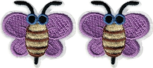 Bienen mit Lila Flügel & Sonnenbrille - Cut Out Embroidered Iron on oder Sew On Patches - Set von 2