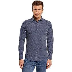 oodji Ultra Hombre Camisa Entallada Estampada, Azul, 40cm / ES 48 / S