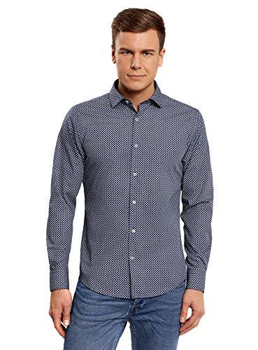 oodji Ultra Hombre Camisa Entallada Estampada, Azul, 41cm / ES 50 / M