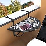 Fesjoy Balcony Table Outdoor Hanging Patio Pieghevole Patio Giardino Esterno Ringhiera Regolabile Tavolo da Servizio Mosaico Circolare Stand Salvare Lo Spazio Plaid in Bianco e Nero
