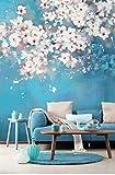 Blu 3D Fiore Albero Murale Carta Da Parati Fai Da Te Soggiorno Camera Da Letto Arte Tv Sfondo Muro Panno Adesivo 400(Larghezza) X280(Altezza) Cm (Dimensioni Personalizzabili)